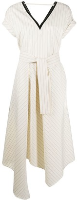 Brunello Cucinelli Belted Pinstripe Dress