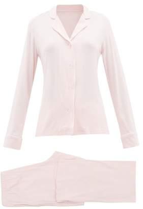 Derek Rose Lara Contrast-piping Jersey Pyjamas - Womens - Pink