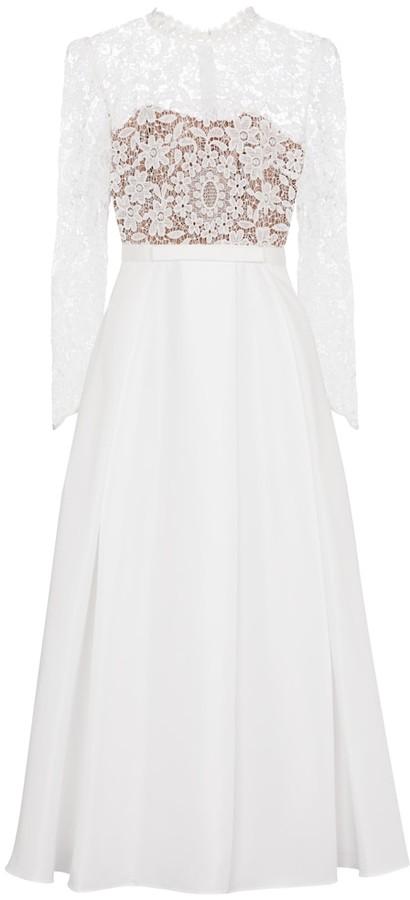 Self-Portrait Bridal guipure lace midi dress