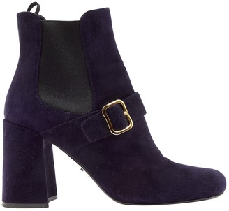 Prada Navy Suede Ankle boots