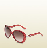 Gucci Large Oval Frame Sunglasses With Logo On Temples.