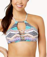 Bar III Printed High-Neck Cutout Bikini Top, Created for Macy's