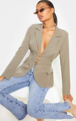 PrettyLittleThing Khaki Corset Woven Blazer