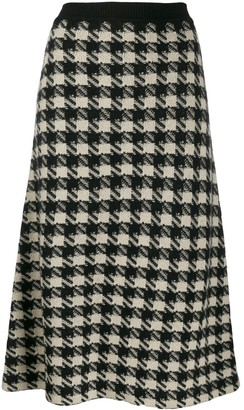 Gucci houndstooth-print A-line skirt
