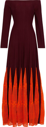 Gabriela Hearst Sylvie Off-the-shoulder Pointelle Knit-paneled Wool And Cotton-blend Maxi Dress