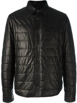 Tod's quilted effect jacket - men - Calf Leather/Polyester/Spandex/Elastane/Virgin Wool - L