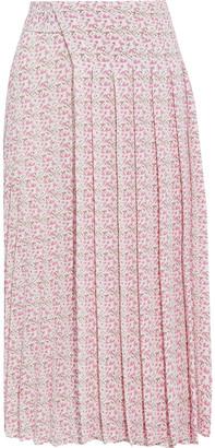 Victoria Beckham Pleated Printed Textured-crepe Midi Skirt