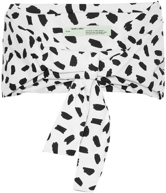 Off WhiteTM Off-white Cropped Printed Cotton-poplin Top