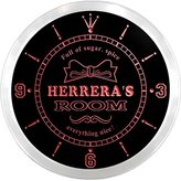 AdvPro Clock ncpe1266-r Herrera's Girl Princess Kids Room Night Light Neon Sign LED Wall Clock