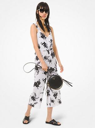 Michael Kors Floral Crepe Belted Jumpsuit