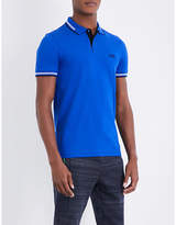 BOSS GREEN Tipped cotton-piqué polo shirt