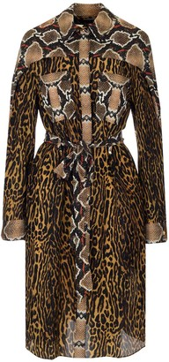 Burberry Animal Print Tie-Waist Shirt Dress