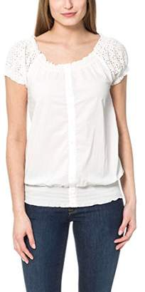 Berydale Women's Short-sleeve blouse with eyelet embroidery, white, size 44