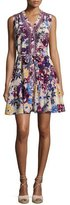 Saloni Tilly-C Floral-Print Sleeveless Shirtdress, Beige/Multicolor