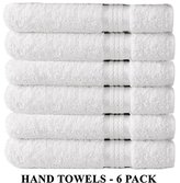 Cotton Craft Ultra Soft 6 Pack Hand Towels 16x28 White weighs 6 Ounces each - 100% Pure Ringspun Cotton - Luxurious Rayon trim - Ideal for everyday use - Easy care machine wash