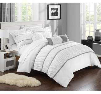 Aero Pleated & Ruffled Queen Bed In a Bag Comforter 10-Piece Set, White