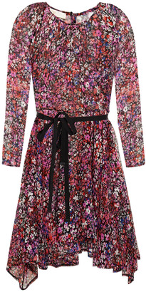 Maje Asymmetric Belted Floral-print Silk-crepon Mini Dress