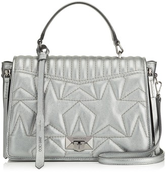 Jimmy Choo HELIA TOPHANDLE Top Handle Bag in Anthracite Metallic Nappa Leather with Star Matelasse