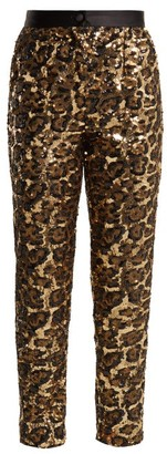 Dolce & Gabbana Leopard Pattern Sequinned Trousers - Womens - Leopard