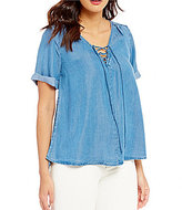 Lucky Brand Short Sleeve Denim Woven Lace-Up Top