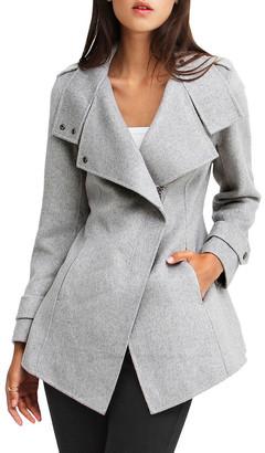Belle & Bloom Bad Girl Grey Marl Wool Blend Moto Coat