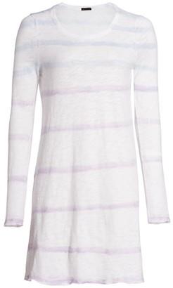 ATM Anthony Thomas Melillo Tie-Dye Striped Shirt Dress