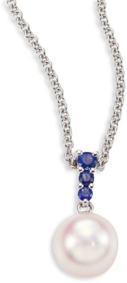 Mikimoto Morning Dew 8MM White Cultured Akoya Pearl, Sapphire & 18K White Gold Pendant Necklace