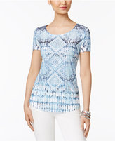 Style&Co. Style & Co Petite Embellished Printed T-Shirt, Created for Macy's