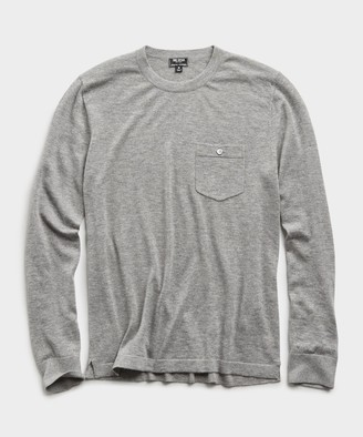 Todd Snyder Italian Cashmere Pocket T-Shirt Sweater in Heather Grey