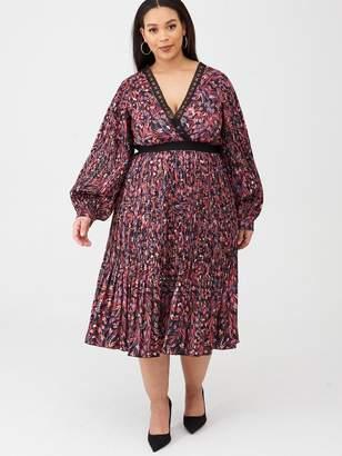 Printed And Pleated Midi Dress - Multi