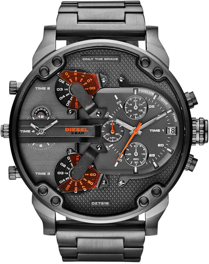 Diesel Men's Mr. Daddy 2.0 Gunmetal-Tone Stainless Steel Bracelet Watch 66x57mm DZ7315