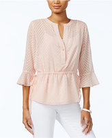 Tommy Hilfiger Sheer Peplum Top, Only at Macy's