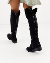 Xti over the knee boots in black