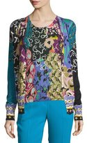 Etro Patchwork Printed Silk/Cashmere Cardigan, Blue/Purple