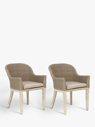 Kettler Cora Round Back Garden Dining Chair, FSC-Certified (Acacia), Set of 2, Smoke White