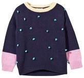 Margherita Kids Pom Pom Knit Sweater With Contrast Bib Sleeve