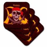3dRose cst_1265_3 Pirates Ceramic Tile Coasters, Set of 4