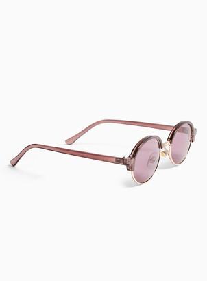 Topman Purple Classic Oval Sunglasses