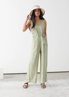 And other stories Oversized Belted Linen Jumpsuit