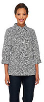 Denim & Co. 3/4 Sleeve Button Down Woven Printed Shirt