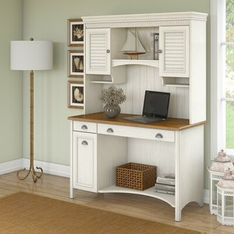 Three Posts Resaca Desk with Hutch Color (Frame): Antique White