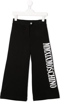MOSCHINO BAMBINO Logo Print Wide Leg Trousers