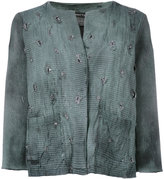 Avant Toi distressed overdyed knitted jacket - women - Cotton/Linen/Flax/Polyamide/Cashmere - S
