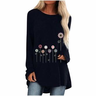 KPILP Women Cotton Linen Tunic Tops Solid Color Loose Blouse Dandelion Floral Print Crew Neck Long Sleeve Pullover Casual T Shirt Irregular Hem Plus Size Tops(Black 3XL)