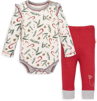 Burt's Bees Candy Cane Forest Organic Baby Bodysuit & Pant Set