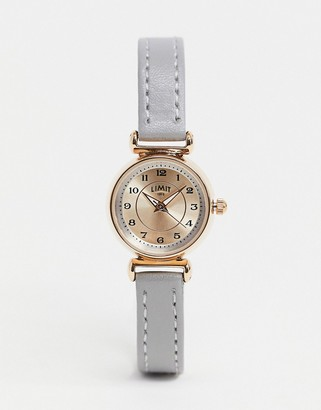 Limit faux leather watch in grey with Rose gold case
