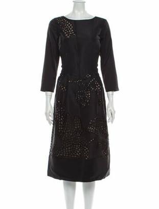 Oscar de la Renta 2010 Midi Length Dress Black