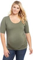 Motherhood Plus Size Side Ruched Maternity Tee - Olive