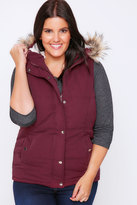 Yours Clothing Burgundy Quilted Gilet With Faux Fur Hood