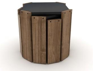 Latitude Run Amoba Nesting Table Table Base Color: Walnut, Table Top Color: Black
